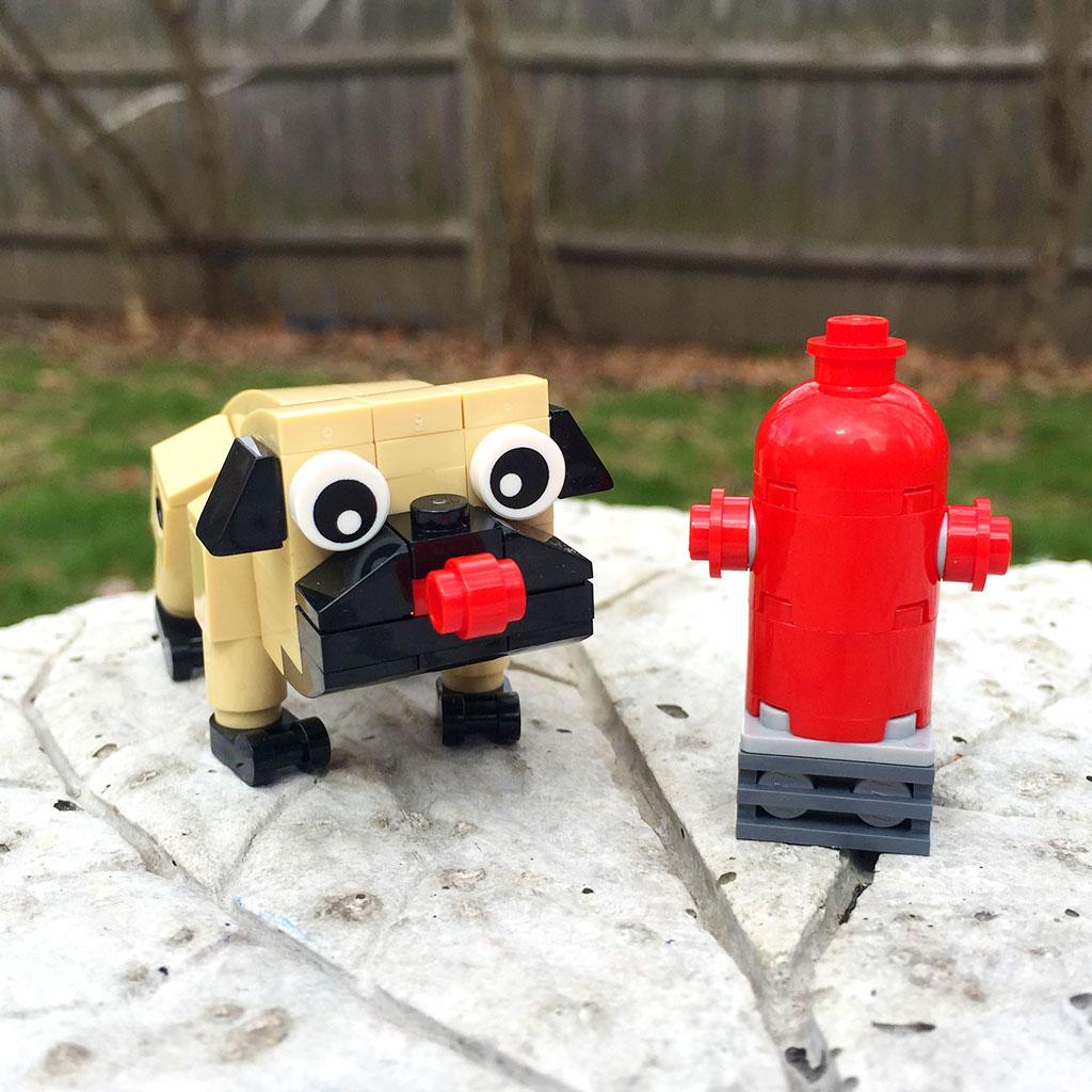 A Lego Pug dog and hydrant